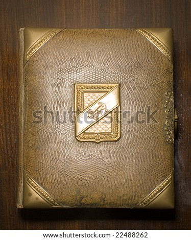 vintage book covered with snake's skin - stock photo