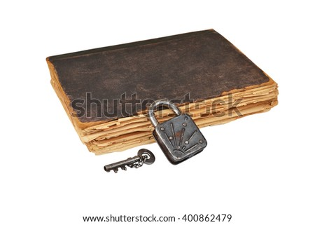 Vintage book, key and lock, isolated on white background - stock photo