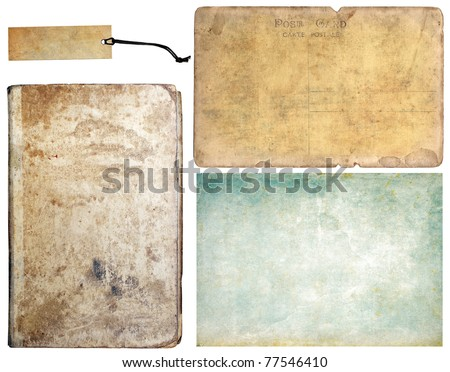 Vintage book, tag, paper and old post card, collection set - stock photo