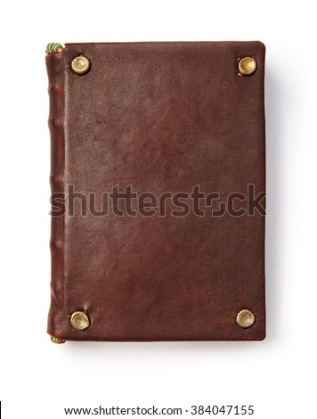 Vintage book with blank leather cover. Isolated white background - stock photo
