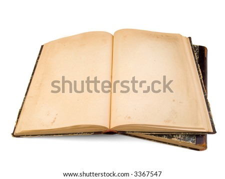 Vintage book with clear pages isolated on white - stock photo