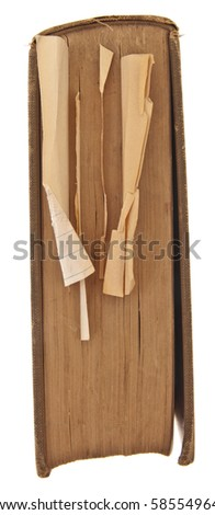 Vintage Book with Crumpled Notes Isolated on White with a Clipping Path. - stock photo