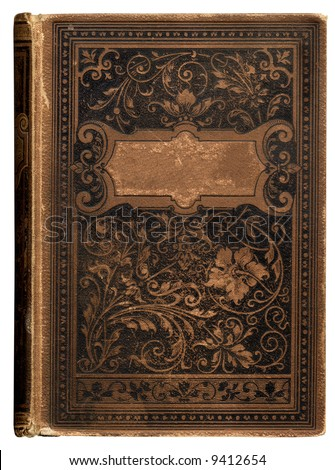 vintage bookcover with beautiful floral decoration and blank label for your text - stock photo