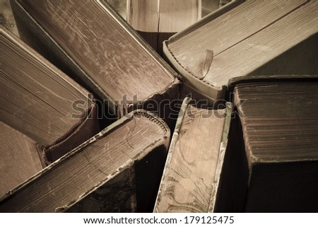 vintage books close up, education, knowledge or history concept - stock photo