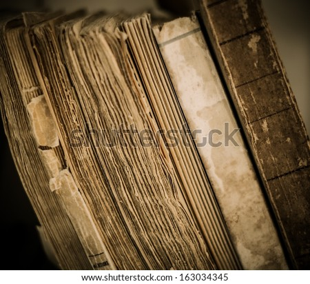 Vintage books in a row  - stock photo