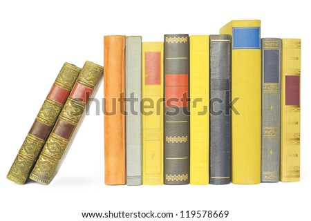 vintage books in a row, isolated on white background, blank labels ,free copy space - stock photo
