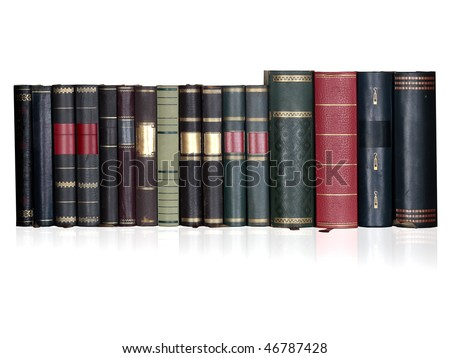 vintage books in a row, isolated on white background, blank labels with free copy space - stock photo