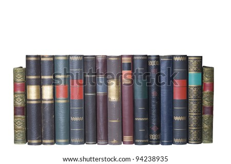 vintage books in a row, isolated on white background, blank labels with free copy space