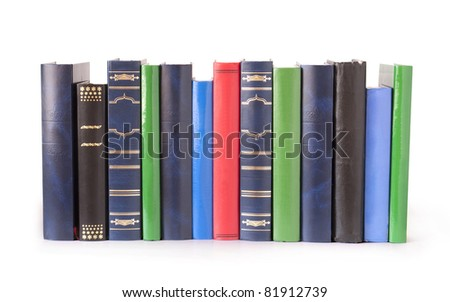 vintage books in a row, isolated on white background, clipping path, empty labels with free copy space - stock photo