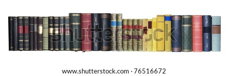 vintage books in a row, isolated on white background, empty labels with free copy space - stock photo