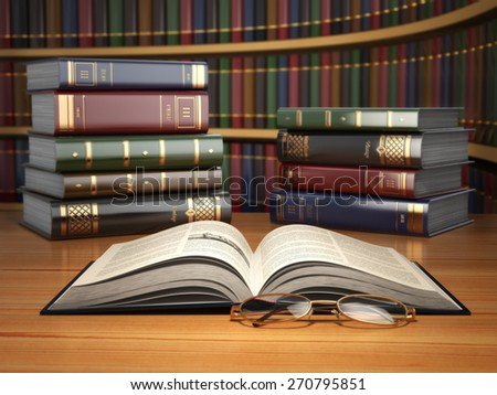 Vintage books in library. Concept of education or book store. 3d - stock photo
