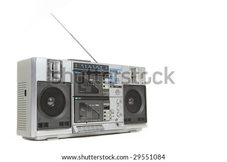 Vintage Boom Box Cassette Tape Player Isolated on White Background - stock photo
