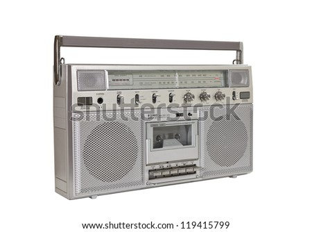 Vintage boom box portable stereo isolated with clipping path. - stock photo