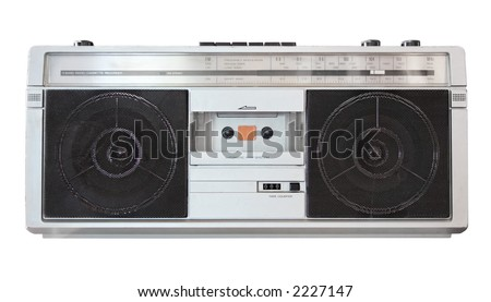Vintage boom box radio isolated on white with clipping path - stock photo