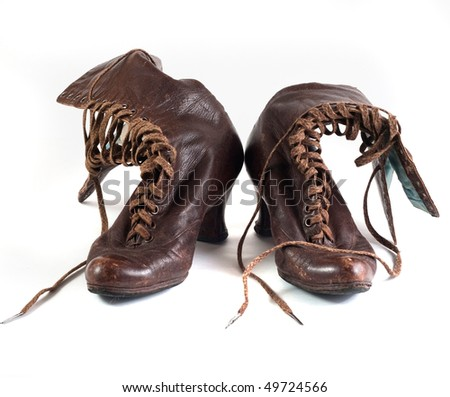 vintage boots isolated on white - stock photo