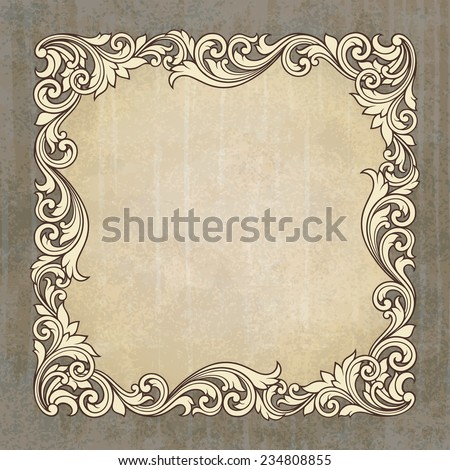 vintage border frame engraving at grunge background  with retro ornament pattern in antique baroque style decorative design invitation card - stock photo
