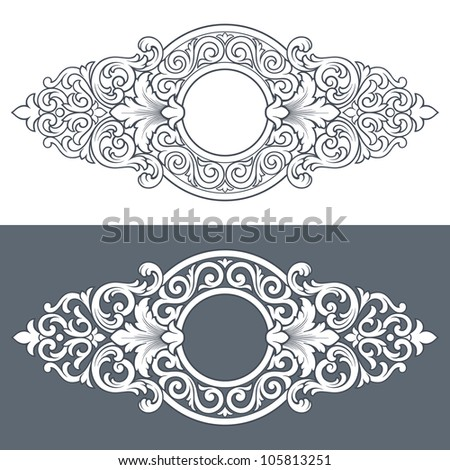 vintage border frame engraving with retro ornament filigree pattern in antique baroque style decorative design isolated
