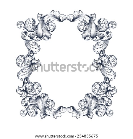 vintage border  frame engraving  with retro ornament pattern in antique baroque style decorative design   - stock photo
