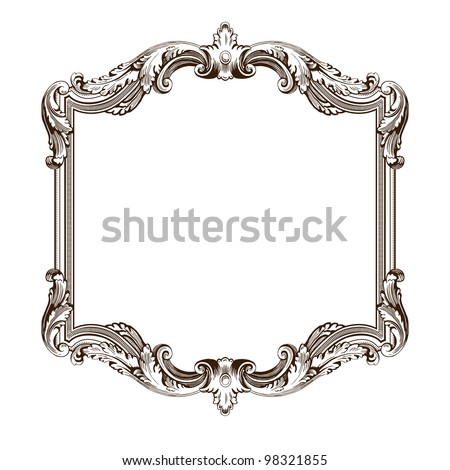 vintage border  frame engraving  with retro ornament pattern in antique rococo style decorative design  isolated on white - stock photo