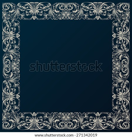 Vintage border framework decor. Baroque design with retro ornament - stock photo