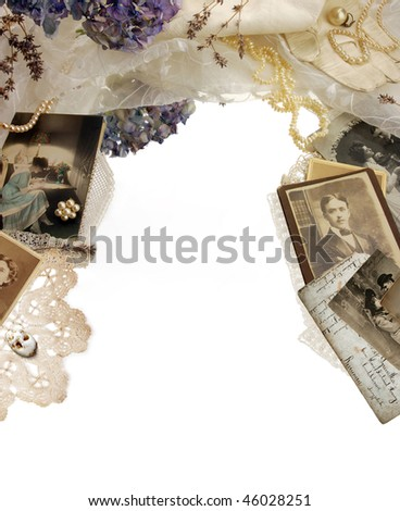 Vintage bordering with photographs, dried flowers and pearls - stock photo