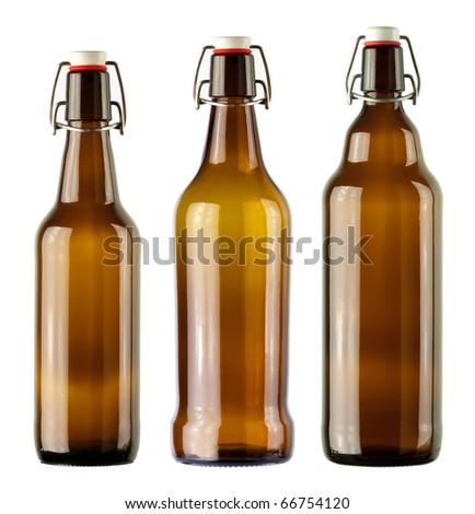 vintage bottles isolated on a white background - stock photo