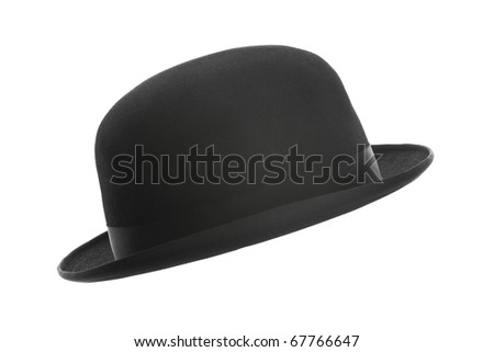 Vintage bowler hat isolated on white - stock photo