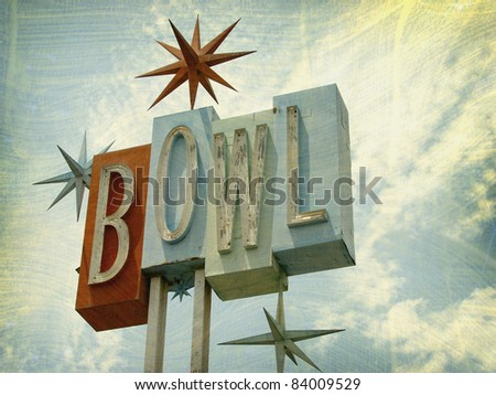 Vintage Bowling Sign - stock photo
