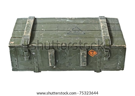 Vintage Box of ammunition. With Clipping Path - stock photo