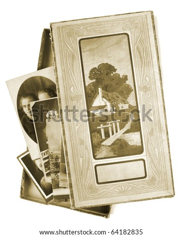 Vintage box with photos, isolated on white background - stock photo