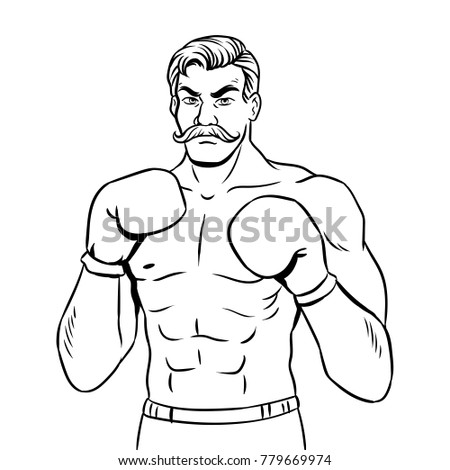 Vintage Boxer Fighter Mustache Coloring Book Stock Illustration ...