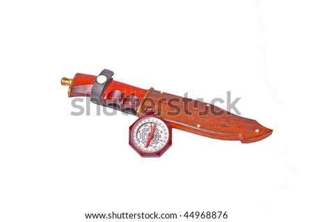 Vintage Boy Scouts of America compass and hunting knife. - stock photo
