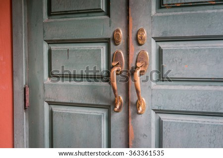 Vintage brass bolts and wooden doors - stock photo