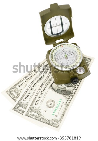 Vintage brass compass with cash on isolated white background, close up view