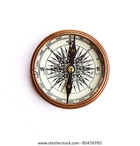 Vintage brass compass with clipping path - stock photo