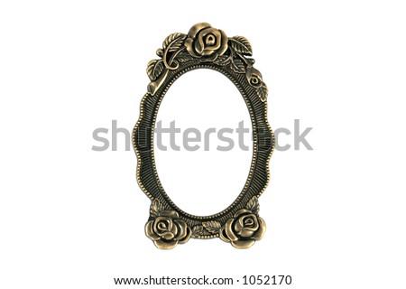 Vintage brass frame on white background - stock photo