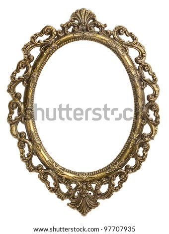 Vintage brass metal frame, isolated. - stock photo