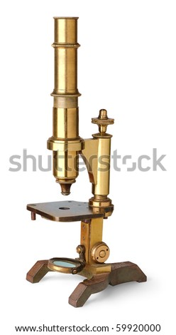 Vintage brass microscope isolated on white - stock photo