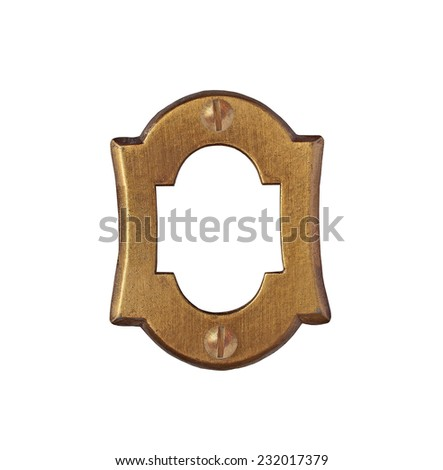 vintage brass number plate over white, clipping path, space for your text - stock photo
