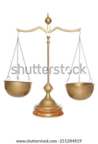 vintage brass weighing scales cutout - stock photo