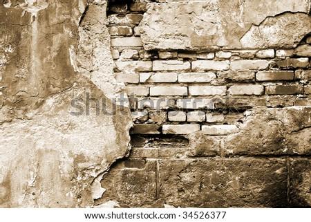 vintage brick wall - stock photo