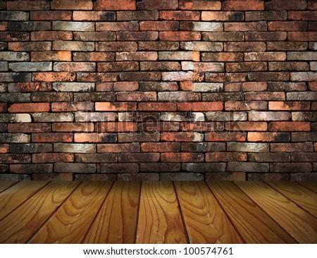 vintage brick wall and wood floor texture interior - stock photo