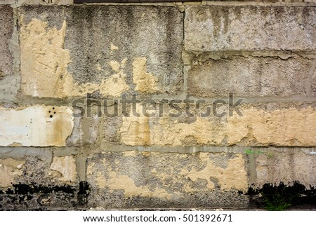 Vintage brick wall with some stones in it, brick wall texture, abstract architecture background, light brick wall with white lines in nature color