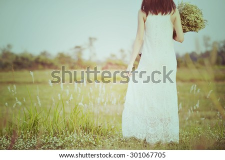 Vintage bride. Women in Fairytale. Woman in meadow. travel and sunset in vintage style  - stock photo