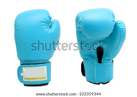 Vintage  bright blue color Boxing gloves Front and Back side with white blackground