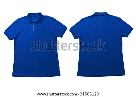 Vintage Bright Blue.color Polo Shirt with white background Men Front and back Polo Shirt - stock photo