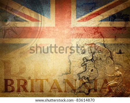 vintage britain ( fragment map Heptarchja Anglo-Saxonum Jan Jansson 1646) - stock photo