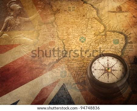 vintage britain ( fragment map Heptarchja Anglo-Saxonum Jan Jansson 1646) - stock photo