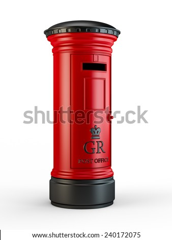 Vintage British postal pillar box, isolated on white background