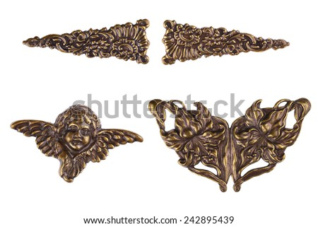 Vintage Bronze Metal Cherub & Angel Wings - Decorating Hardware for Scrapbooks, Picture Frames, Furniture or Books and Albums. - stock photo